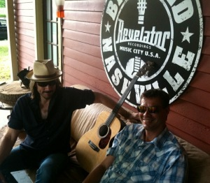 Gregg and Kraig hangin' on the studio porch discussing walleyes, dogs, Carlton, and Sasquatch.