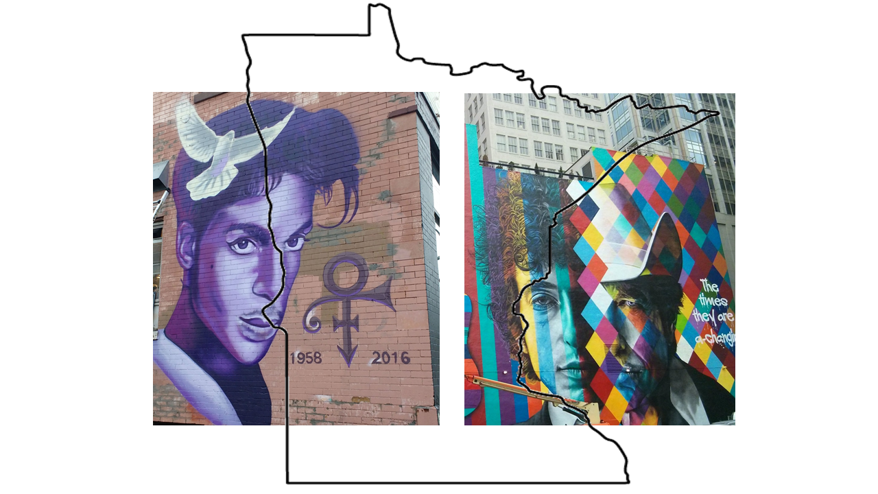Bob Dylan and Prince - Minnesota Murals